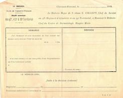 Service De Santé, Vénérologie, 1914-1918. Billet De Liaison, 13e Région, Clermont-Ferrand - Non Classés