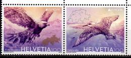 2019 Switzerland Europa CEPT National Birds Setenant Set Of 2 V MNH** MiNr. 2600 - 2601 Golden Eagle Sanderling Pray - Ungebraucht
