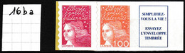 Marianne De Luquet TVP Rouge + 1 Fr Orange + Vignette - Type II - Y&T N° 16ba - NEUF - Sellos Autoadhesivos