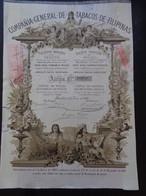 ESPAGNE - BARCELONA 1882 - CIE GENERAL DE TABACOS DE FILIPINAS - TITRE DE 250 PESETAS - BELLE DECO - Unclassified