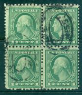 USA 1920 Sc#542 1c Green Washington Perf 10x11 No Wmk Coil Waste Blk 4 FU Lot68848 - Unclassified