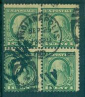 USA 1917-19 Sc#498 1c Green Washington Perf 11 No Wmk Blk 4 FU Lot69116 - Unclassified