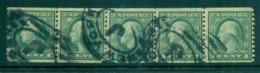 USA 1916-19 Sc#490 1c Green Washington Rotary Perf 10 Vert No Wmk Str 5 (hinge Reinforced)FU Lot69387 - Unclassified