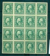 USA 1916-17 Sc#481 1c Green Washington IMPERF No Wmk Centre Cross Blk 16 MUH Lot69351 - Unclassified