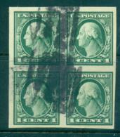 USA 1916-17 Sc#481 1c Green Washington IMPERF No Wmk Blk 4 FU Lot68828 - Unclassified