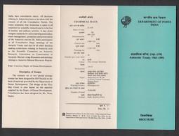 INDIA, 1991, BROCHURE WITH INFORMATION, FOLDER, Antarctic Treaty, Fauna, Emperor Penguins & Gentoo Penguins, - Brieven En Documenten