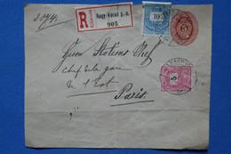 T18 HUNGARY BELLE LETTRE  RECOM.DEVANT  1895  PETIT BUREAU NAGI VARAD POUR  PARIS FRANCE + AFFRANCH. INTERESSANT - Brieven En Documenten