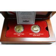 Coffret Bois, 2 Médailles Plaqué Or (20$ 1933 +1 Pound 1898) - Collezioni