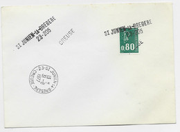 BEQUET 80C ROULETTE  LETTRE ANNULATION GRIFFE ST JUNIEN LA BREGERE  + TAD 31.8.1977 CREUSE - Manual Postmarks