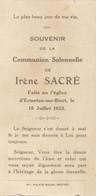 Irène Sacré 1923 Ermeton-sur-Biert Communion -  Ancienne Image Pieuse - Holy Card - Santini - Jesus Bouasse - Devotion Images