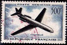 France Avion Obl Yv:36 Mi:1120 Caravelle (Beau Cachet Rond) Cachet Rouge - 1927-1959 Matasellados