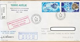 X97068 ♥️ Recommandé TAAF 05-01-1978 TERRE-ADELIE Base DUMONT-URVILLE XXVIII Expédition Antartique Géophysique N°50 + 5 - Cartas