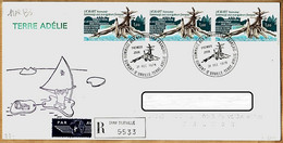 X97074 ♥️ TAAF 1er Jour 31-12-1978 Recommandé TERRE-ADELIE DUMONT URVILLE Hommage Navigateurs HOBART 4x 77+1 N° 6 - Cartas