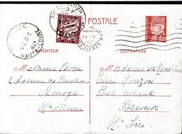 ENTIER POSTAL TAXE  TYPE PETAIN 1943 - POSTE A LIMOGES - CACHET POSTAL ARRIVEE ET TAXE A BRIOUDE - - 1859-1955 Covers & Documents