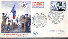 FDC FRANCE 1954 -  SALON DE L'ARMEE EN L'HONNEUR DU MARECHAL DE LATTRE DE TASSIGNY - - Militaria
