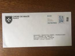 PAP REPONSE YSEULT YZ CATELIN OEUVRES HOSPITALIERES FRANCAISES DE L'ORDRE DE MALTE 225920 - Prêts-à-poster: Réponse