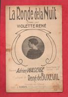 """PARTITION . CHANSON . """" LA RONDE DE LA NUIT """" . VIOLETTE RENÉ . ADRIEN WASEIGE . RENÉ DE BUXEUIL - Réf. N°37G - - Scores & Partitions"""