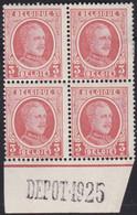 Belgie  .   OBP  . 192 Blok 4 Zegels (3 Zegels: **)    .   *  .   Ongebruikt Met Gom  .  /  .   Neuf Avec Gomme - 1922-1927 Houyoux