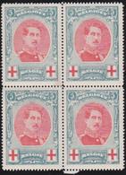 Belgie  .   OBP    .   132  Blok 4 Zegels  (2 Scans)     .   **   .      Postfris   .    /  .   Neuf SANS Charniére - 1914-1915 Rotes Kreuz
