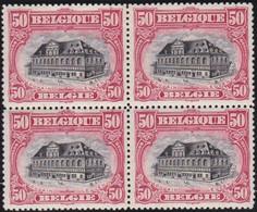 Belgie  .   OBP    . 144  .  Blok 4 Zegels   .   **   .      Postfris   .    /  .   Neuf SANS Charniére - 1915-1920 Albert I.