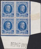 Belgie  .   OBP    .  206    Blok 4 Zegels   .   **  .    Postfris   .  /  .   Neuf SANS Charniére - 1922-1927 Houyoux