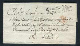 Griffe Du Préfet De Police De Paris Sur Lettre Sans Texte Pour Lille - Ref M 19 - 1801-1848: Precursors XIX