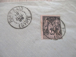 Lettre France Colonies Françaises Port Saïd Egypte Pour Montmorency 1 TP France Sage N° 25 C Noir 1899 - Briefe U. Dokumente