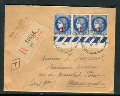 Enveloppe En Recommandé De Tulle Pour Marmande En 1941, Affranchissement Cérès Surchargés En Bande De 3 - Réf M 70 - 1921-1960: Periodo Moderno