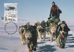 Australian Antarctic Territory  2001 Australians In Antarctic, First Flight,maximum Card - Tarjetas – Máxima
