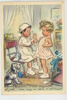 """Illustrateur GERMAINE BOURET - Jolie Carte Fantaisie Enfants Jouant Au Docteur """"Madame, Si Mon Diagnostic ..."""" - Bouret, Germaine"""