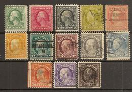 ESTADOS UNIDOS  YVERT 182/194 (*)/(º) Serie Completa 13 Valores  1912/1915 NL930 - Unused Stamps