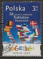POLAND Oblitéré 4042 Cinquentenaire Du Traité De Rome Drapeau Union Européenne - Gebruikt