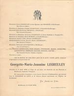 Faire-part Décès Georgette Marie LEGREULEY Mére Née THOMINE Décédée à 1jour Hameau Valognes BRILLEVAST Avril 1932 - Esquela