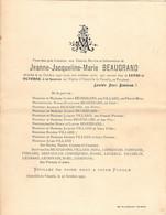Faire-part Décès Jeanne Jacqueline BEAUGRAND Mére Née VILLARD Décédée à OCTEVILLE La VENELLE Octobre 1932 - Esquela