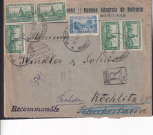 BULGARIEN BULGARIA 1923 Mi 157 (x5)+Mi 164 (Perfin) LETTER ROUSTCHOUK-ROCHLICE-ROCHLITZ/ SACHSEN - Non Classés