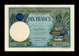 # # # Sehr Seltene ältere Banknote Madagaskar (Madagascar) 10 Francs  1937-1947 UNC- # # # - Madagascar