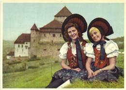 Furstentum Liechtenstein National Tracht Und Schloss Vaduz  Colorisée RV - Liechtenstein