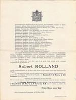 Faire-part Décès Mr Robert ROLLAND Décédé Ferme Des Granges St GERMAIN De TOURNEBUT Mars 1943 - Esquela