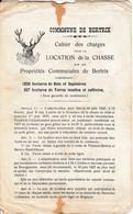 Bertrix Cahier Des Charges Pour La Location De La Chasse Sur Les Propriétés Communales 1927 + Cible Sanglier - Documents Historiques