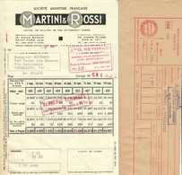 "Martini & Rossi Succursale St.Raphael Facture Decorative 1953 "" Facture Pour Delivraison Acec Bulletin Extra "" - Alimentare"