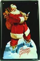 USA Color Metal/tin Plate/tray Coca-Cola - Retro Style 'Santa Claus' - 30 X 20 Cm - Plaques émaillées & En Tôle