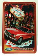 USA Color Metal/tin Plate 'Las Vegas - Ford Mustang' Poker Games - 30 X 20 Cm - Plaques En Tôle (après 1960)