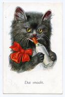 """Mignon Petit Chat Noir. Humour  """"  Je Bois Au Biberon  """" Cat. - Cats"""