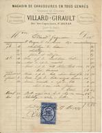 SAINT AIGNAN, 41 - Facture 1878 - Chaussures VILLARD-GIRAULT - 1800 – 1899