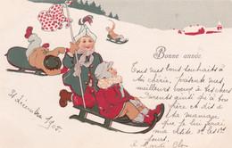 Auguri  ,  Con Le Slitte Sui Campi Di Neve - Anno Nuovo