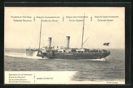 AK Marie-Henriette, Belgischer Staats-Postdampfer Von Ostende Nach Dover, Ganzsache - Postal Services
