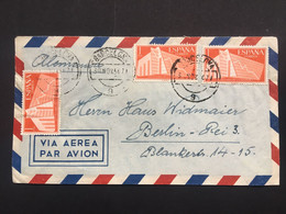 SPAIN 1956 Air Mail Cover Barcelona To Berlin - 1951-60 Cartas