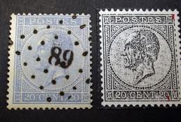 Belgie - Belgique 1865 - 1866 - N° 18 - 20c  - Obl. - Bureau  89  - Couvin Avec/met Variété - 1865-1866 Profilo Sinistro