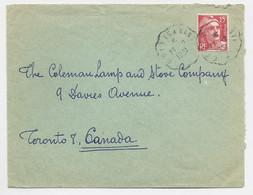 GANDON 15FR ROUGE SEUL LETTRE CONVOYEUR CROISIC A NANTES 27.2.1951 POUR CANADA CA ARRIVEE TARIF SPECIAL RELATIONS - 1945-54 Marianna Di Gandon