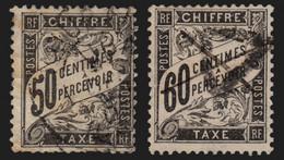 France Taxe N°20/21, Duval 50c Noir + 60c Noir - Défectueux - COTE +300 € - 1859-1955 Usati